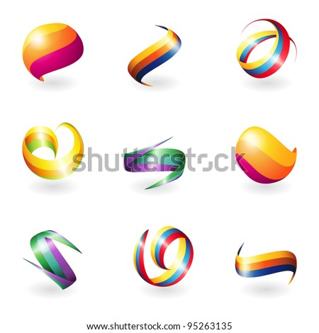 Abstract 3D elements - stock vector