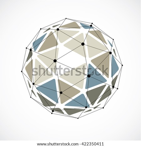 Abstract 3d faceted figure with connected black lines and dots. Colorful vector low poly design element, cybernetic orb shape with grid and lines mesh. - stock vector