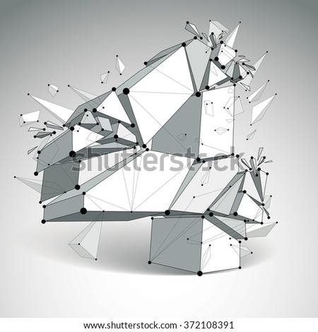 Abstract 3d faceted number 4 with connected black lines and dots. Vector low poly shattered design element with fragments and particles. Explosion effect. - stock vector