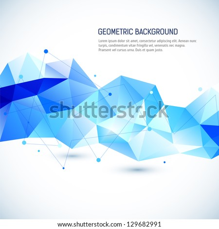 Abstract 3D geometric background - stock vector