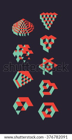 Abstract 3d geometric objects, useful for logos or science backround. illustration - stock vector