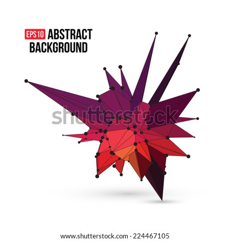 Abstract 3D geometric shape for graphic design. Vector illustration EPS10.  - stock vector