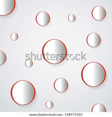 Abstract 3D Geometrical Design - circle on red background - stock vector