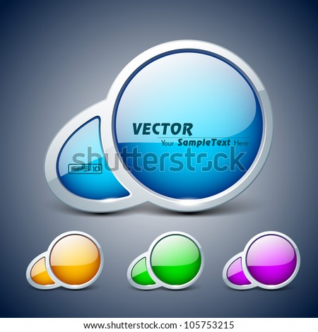 Abstract 3D glossy icon set  in yellow, blue, green and pink color, isolated on grey with text space.EPS 10. can be use as icons, element, banner or background. - stock vector