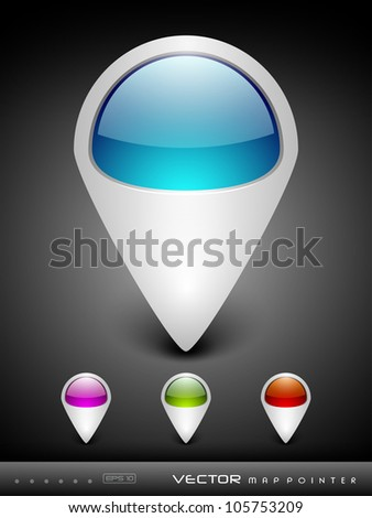 Abstract 3D glossy map pointers in  blue, green, pink and red color with grey color combination, isolated on grey with text space.EPS 10. can be use as icons, element, banner or background. - stock vector