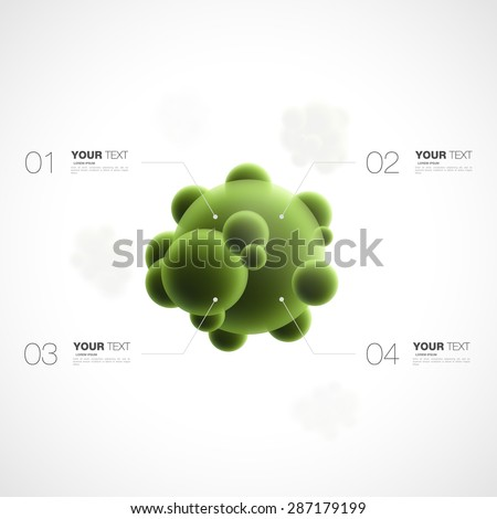 Abstract 3d green bacteria with infographics template for your content design isolated on white background vector stock eps 10 illustration - stock vector