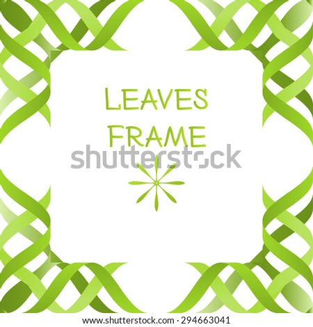 abstract 3d green leaves frame isolated mock up volume modern vector - stock vector
