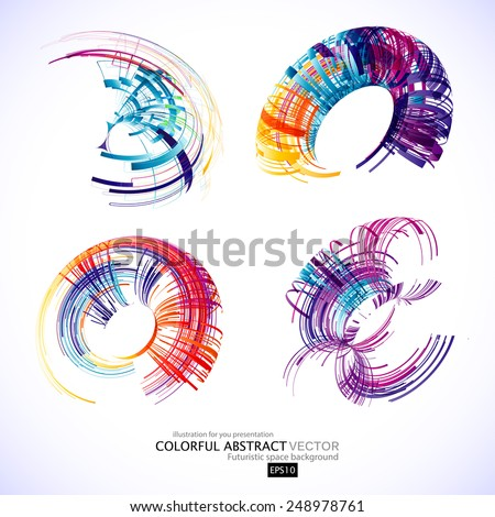 Abstract 3d icon set with color ribbon elements. Design elements with spiral motion.  - stock vector