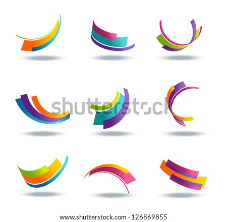 Abstract 3d icon set with colorful ribbon elements - stock vector