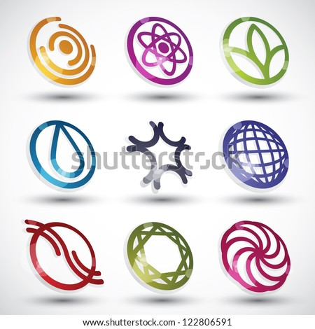 Abstract 3d icons vector set. - stock vector