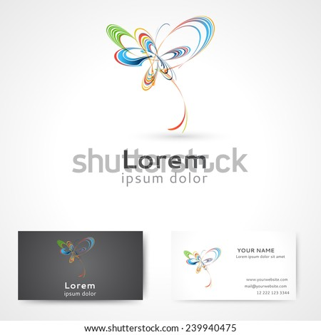 Abstract 3d logo design with business card template - stock vector