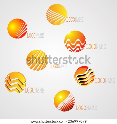 Abstract 3d Logo Icons In Striped Circle Form.  Vector Business Elements.  - stock vector