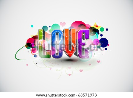 Abstract 3d love design element, vector illustration.
