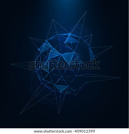 Abstract 3d low poly sphere with chaotic structure World global network Triangle globe Vector futuristic sci fi illustration Technological background .