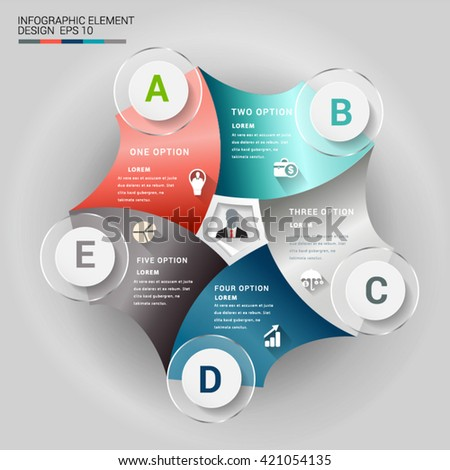 Abstract 3D origami paper infographic element. - stock vector