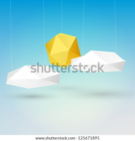 Abstract 3d origami sun and clouds design vector - stock vector