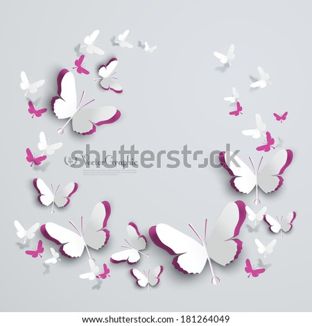 Abstract 3D Paper Butterflies Cut-out - stock vector