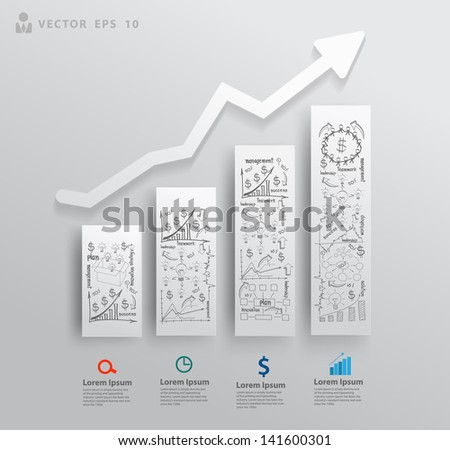 Abstract 3D paper charts and graphs, With drawing business success strategy plan concept idea, Vector illustration modern template design for workflow layout, diagram, number options, step up options - stock vector