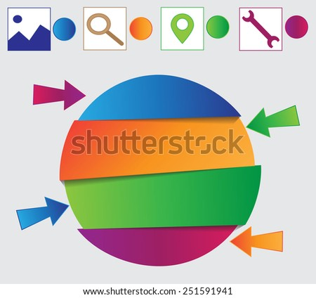 Abstract 3D paper elements for Infographics. Vector  - stock vector