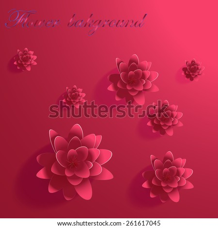 Abstract 3D Paper Flower Lotus - stock vector