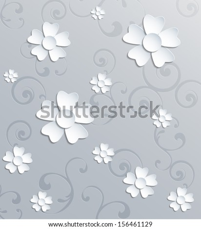 Abstract 3d paper flowers background. Vector eps10. - stock vector
