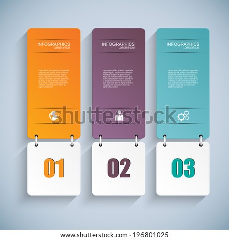 Abstract 3D paper Infographic - stock vector
