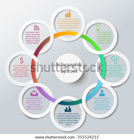 Abstract 3D Paper Infographic circles - stock vector