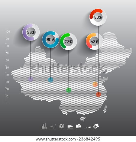 Abstract 3D Paper Infographics-china - stock vector