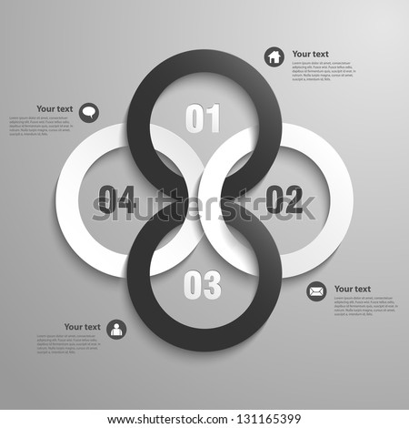 Abstract 3D Paper Infographics circles- vector - stock vector