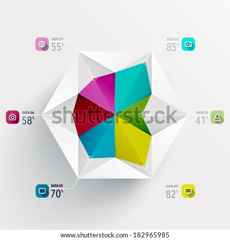 Abstract 3D Paper Sculpture Infographics - stock vector
