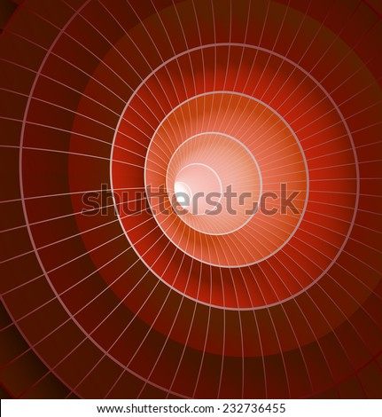 Abstract 3d red spiral tunnel. Vector illustration - stock vector
