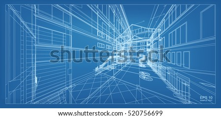 Abstract 3D Render Of Building Wireframe Structure Vector Architectural Construction Graphic Idea