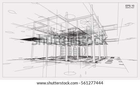 abstract 3 d render building wireframe structure stock vector