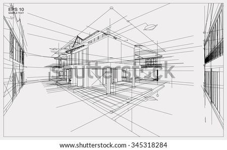 Abstract 3d Render Building Wireframe Structure Stock-vektorgrafik ...