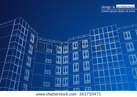 Abstract 3D render of building wireframe structure - Vector illustration - stock vector