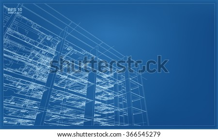 Abstract 3D render of building wireframe. Vector architectural construction graphic idea. - stock vector