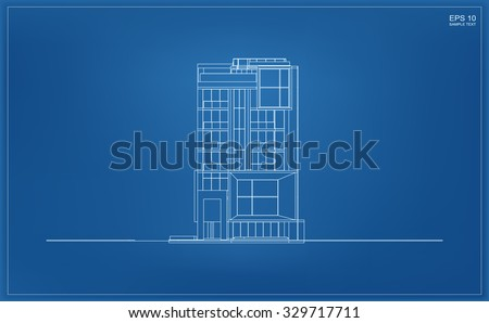 Abstract 3D render of building wireframe. Vector illustration - stock vector