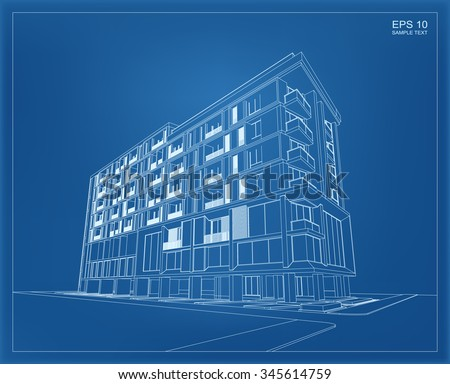 Easy edit vector illustration blueprint building vectores en stock abstract 3d render of building wireframe vector schematic design of architecture with blueprint background malvernweather