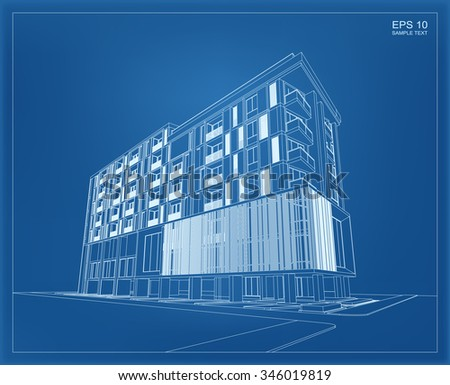 Abstract 3D render of building wireframe. Vector schematic design of architecture with blueprint background. - stock vector