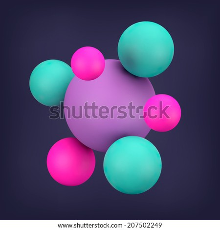 abstract 3d render  sphere ball vector background for your design - stock vector