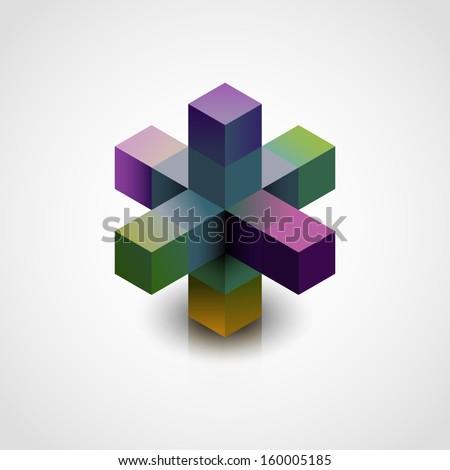 Abstract 3d shape, eps10 vector - stock vector