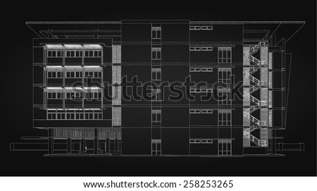 Abstract 3D Sketch of building. - stock vector
