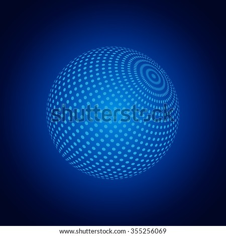 Abstract 3D Sphere With Dots. Vector Illustration