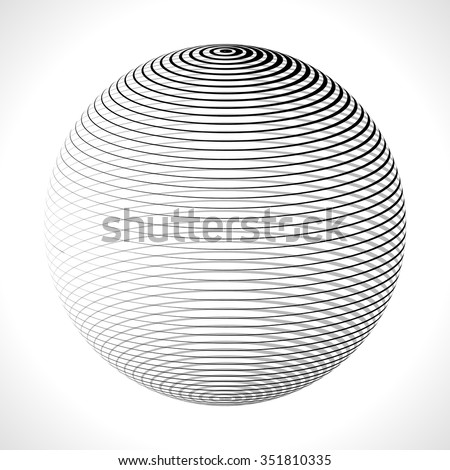 Abstract 3D Sphere with Stripes, lines. Vector illustration. - stock vector