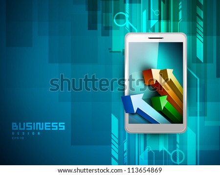 Abstract 3D statistics background, Business concept on a smart phone screen. EPS 10.