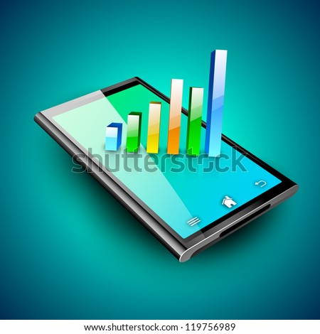 Abstract 3D statistics background, Business concept on a tablet screen. EPS 10. - stock vector
