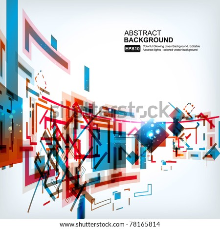 Abstract 3d technology lines with light vector background - stock vector