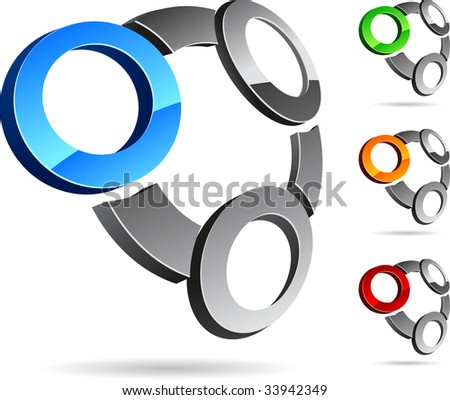 Abstract 3d vector icons such logos. - stock vector