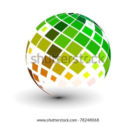 abstract 3d vector sphere with glossy mosaic design. - stock vector
