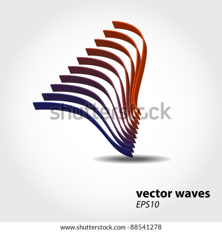 Abstract 3D wave background composition - vector illustration - stock vector